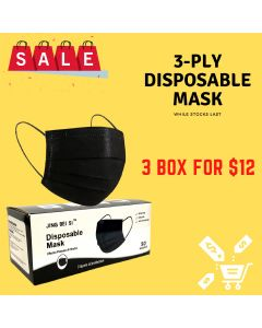 3-PLY Disposable Mask BLACK 3 BOXES